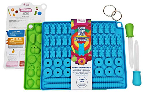 (DIY Classic Gummy Molds by Mister Gummy | Premium BPA-Free LFGB/FDA Silicone | (Gummy Bears, Rings, Worms, Fruits) - 2 Molds, 2 Droppers, Recipe Card, ZIP-Lock Bag, 2 Loose Leaf Rings (Combo Pack))