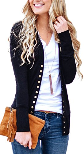 NENONA Women's V-Neck Button Down Knitwear Long Sleeve Soft Basic Knit Snap Cardigan Sweater(Black-XL)