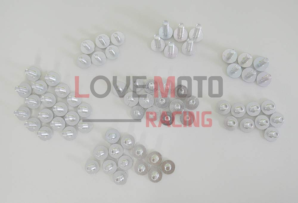 LoveMoto Full Motorcycle Fairing Bolt Screw Kit For Suzuki GSXR1300 GSX-R 1300 GSXR 1300 Hayabusa 2008-2015 New Body Screws Aluminum Fasteners Hardware Clips Blue Silver