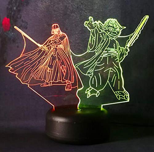 Amroe Star Wars Hero Darth Vader Jedi Knight Yoda 3D Night Light 7 Color Changing Children's Bedroom Decorated Night Light Birthday (Darth Vader & yoda)