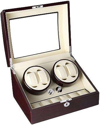 Madera, Reloj automático de la Caja de la devanadera, 4 Relojes 6 Posición de Almacenamiento Silencio Ventanas de visión, Blanca: Amazon.es: Relojes