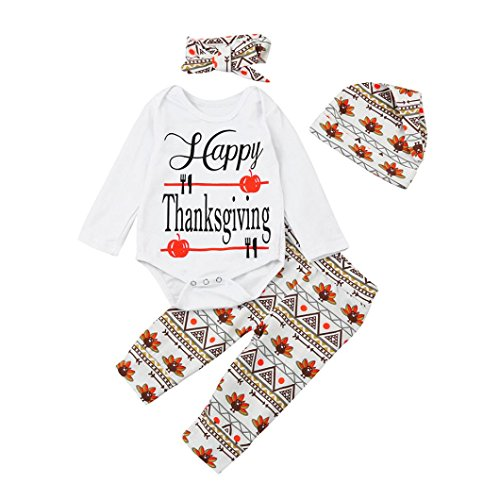 TRENDINAO Newborn Infant Baby Boys Girls Clothes Happy Thanksgiving Romper+Pants+Hat+Headband Outfit Clothes (Party In My Pants Costume)