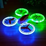 Dayan Anser Quadcopter Drone for Kids, JXD 398 UFO RC Quadcopter 2.4G 4CH 6 Axis, Fantastic Colorful LED Lights Helicopter (White, Red)