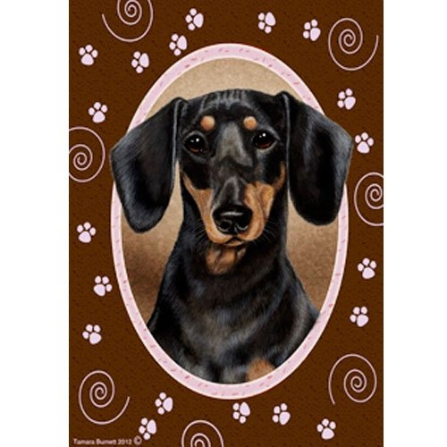 Best of Breed Pink Paws Garden Flag - Black and Tan Dachshund
