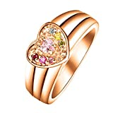 Quiges Rose Gold Plated Silver Mother CZ Birthstone Personalized Engraved 6 Names Family Band Heart Custom Ring 8