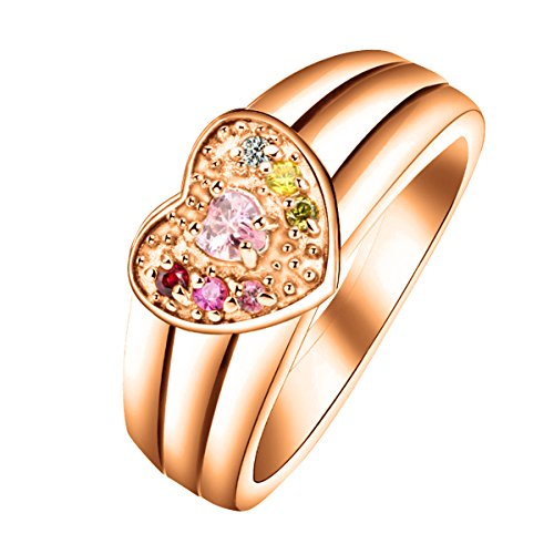 Quiges Rose Gold Plated Silver Mother CZ Birthstone Personalized Engraved 6 Names Family Band Heart Custom Ring 8 by Quiges