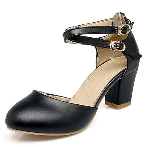 Aisun Womens Buckled Round Closed Toe Dress Chunky Medium Heels Elegant Sandals Shoes With Ankle Straps Black juz6n