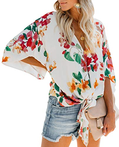 CICIDES Womens Stripes Blouses Tie Front V Neck 3 4 Batwing Sleeve Plus Size Casual Fashion 2019 Plain Summer Loose Fit Tops and Tunics Shirts Multicolor US16-18 X-Large