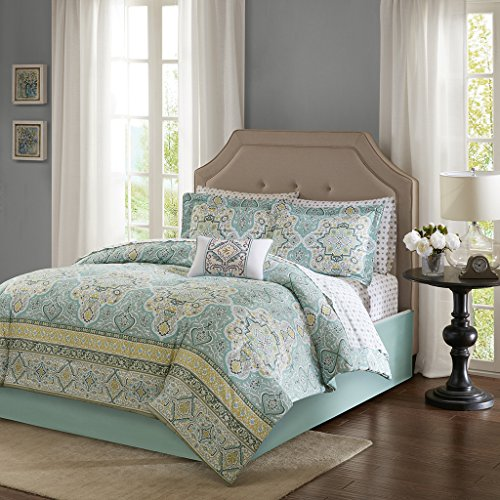 Madison Park Essentials Cara Twin Size Bed Comforter Set Bed in A Bag - Aqua, Medallion Damask - 7 Pieces Bedding Sets - Ultra Soft Microfiber Bedroom Comforters