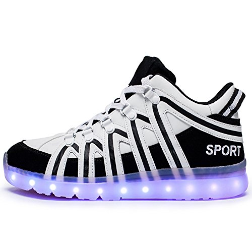 Men 7 Women Colors amp; Fashion USB Rechargeable Light Led Shoes Luminous Black Unisex nHZtWrZx