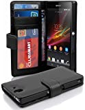 Cadorabo - Book Style Wallet Design for Sony Xperia Z with 2 Card Slots and Money Pouch - Etui Case Cover Protection in OXID-BLACK
