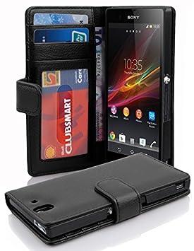 Cadorabo Funda Libro para Sony Xperia Z en NEGRO ÓXIDO – Cubierta Proteccíon con Cierre Magnético e 3 Tarjeteros – Etui Case Cover Carcasa