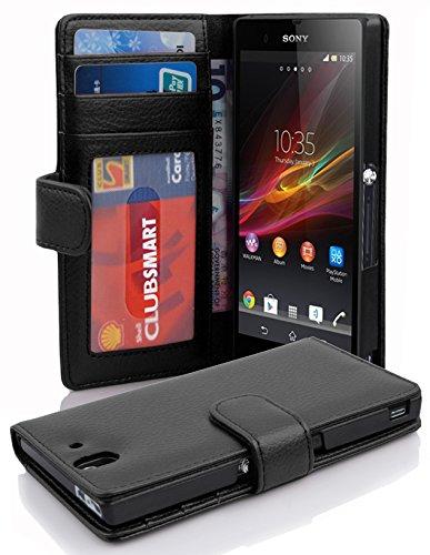 Cadorabo Hülle für Sony Xperia Z - Hülle in OXID SCHWARZ – Handyhülle mit 3 Kartenfächern - Case Cover Schutzhülle Etui Tasch