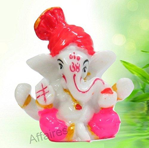 G-507 White Affaires : Lord Ganesha Ganesh Ganpati Car Dashboard Idol Hindu Figurine Showpiece Sculpture Decorative Gift