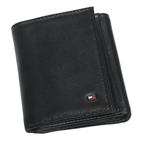 Tommy Hilfiger Men's Trifold Wallet-Sleek and Slim Includes ID Window and Credit Card Holder, Oxford Black, One Size