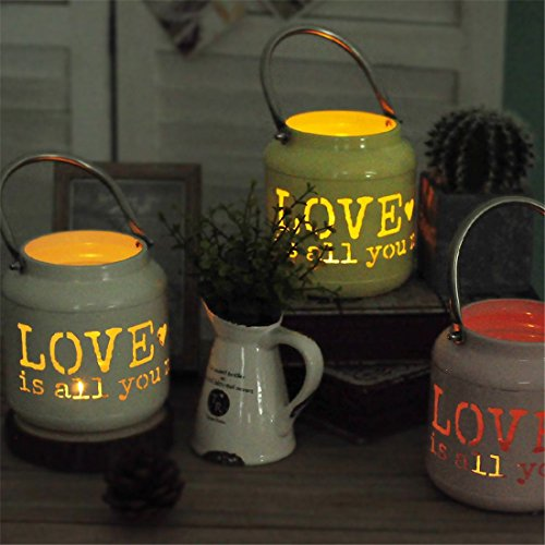 European Pastoral Home Decoration Iron Hollow Love Floor Lamp Candle Holder Flower Pot Storage - Candle Holders
