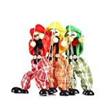 Yosoo 1pcs Cute Clown Marionette Puppet Doll Toys Childhood Educational Toys Children's Wooden Marionette Toys(Color by Random)