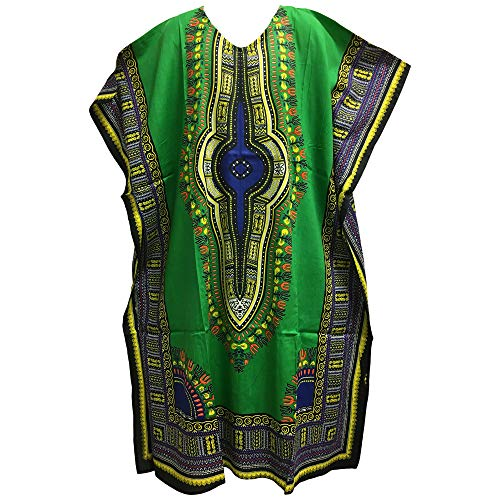 Ethnic Caftan - Yoga Trendz Men's Bohemian African Dashiki Print Ethnic Caftan Kaftan (Emerald Green)