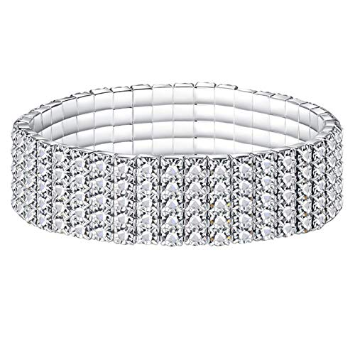 Etosell Women's Elastic Crystal Rhinestone Stretch Silver Bracelet Bracelet Multi-Row Shiny Full Diamond Bracelet (Five Rows)