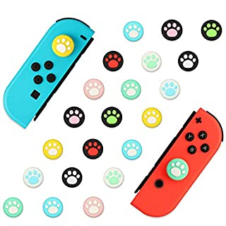 EEEKit 40Pcs 10Colors Cat Claw Design Joystick Cover Sets, Thumb Grip Caps Compatible with Nintendo Switch&Lite, Soft Silicone Joystick Cover for Joy-Con Controller