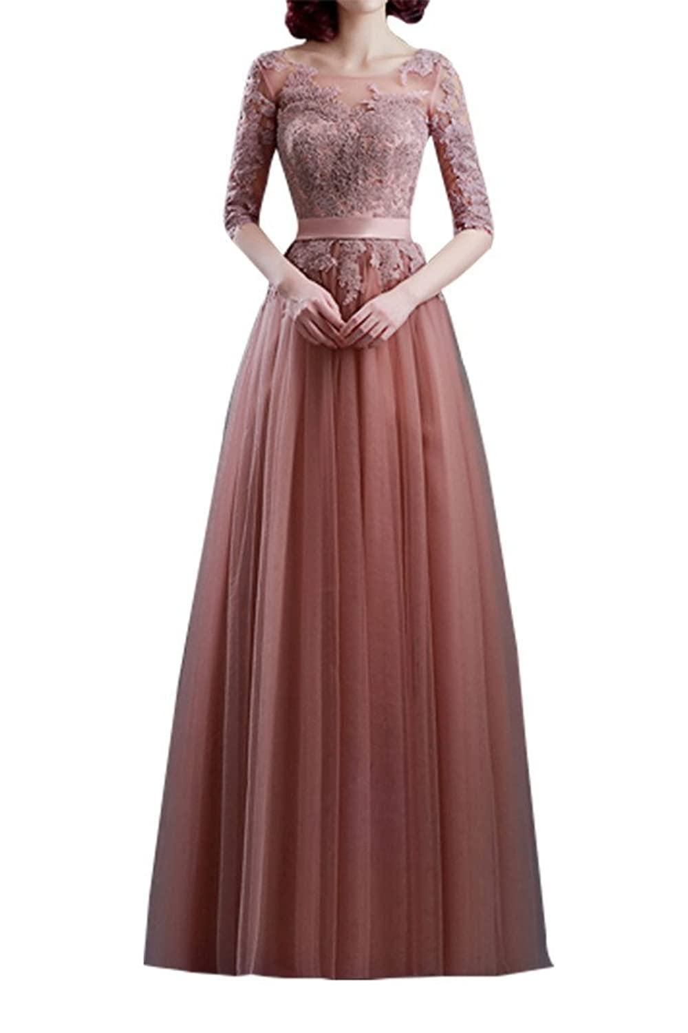 Charm Bridal Prom Dress Lace-up Tulle Half-sleeve Applique Bride mother Dresses