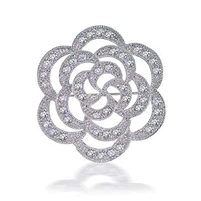 new Bling Jewelry CZ Flower Open Rose Wedding Brooch Pin Rhodium Plated for sale