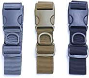 NUOMI Men Tactical Belt Heavy Duty Nylon Outdoor Military Belts with Quick-Release Plastic Buckle, 3 Pack Blac