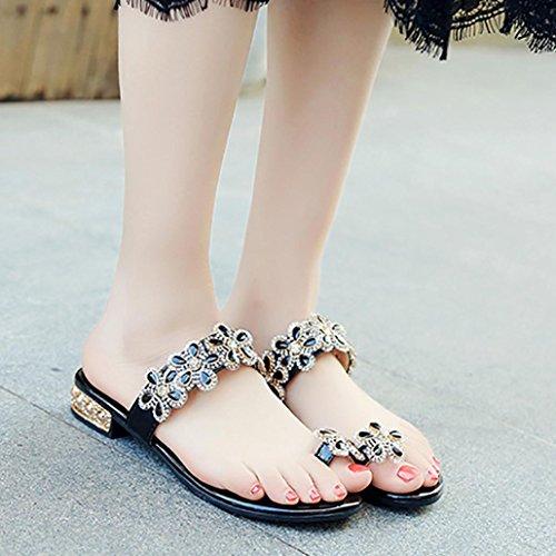 Slippers Bohemia Women Low Open Anti Shoes Floral kaifongfu Skidding Rhinestone Heel Sandals Black Toe Sandals Flat 8xqfqFO