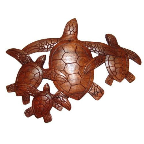 4 Wall Plaques - Alii of Hawaii 4 Honu Hardwood Wall Plaque