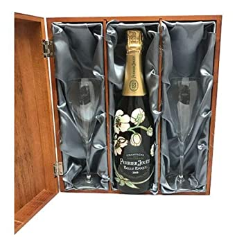 Perrier Jouet Belle Epoque Champagne 75cl and two Flutes in Luxury Silk Lined Wooden Gift Box