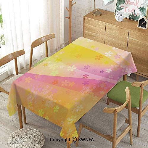 Decorative Rectangular Table Cloth,Cherry Blossom Pattern Wavy Background Romantic Decorating Design Illustration,Spillproof Modern Printed,Fuchsia Yellow,55