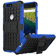 Nexus 6P Case - MoKo Heavy Duty Rugged Dual Layer Armor with Kickstand Protective Cover for Google Nexus 6P by Huawei 5.7 Inch Smartphone 2015 Release, BLUE (Not Fit Nexus 6 2014 Version)
