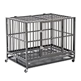 "Sliverylake XXL 42"" Heavy Duty Dog Pet Cage Crate Kennel Playpen Exercise Pan w/ Swivel Wheels Tray New"