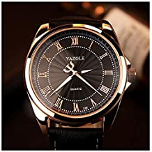 LinTimes Fashion Mens Watch Quartz Analog Roman Numeral Scale Business Casual Wristwatch Black Band Dial