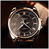 LinTimes Fashion Mens Watch Quartz Analog Roman Numeral Scale Business Casual Wristwatch Black Band Black Dial
