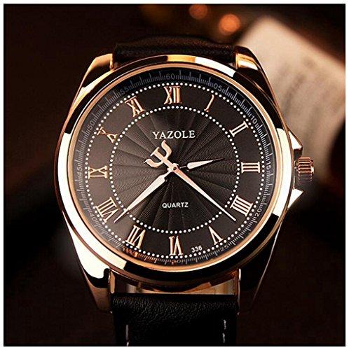 LinTimes Fashion Mens Watch Quartz Analog Roman Numeral Scale Business Casual Wristwatch Black Band Black Dial - Time Quartz Wrist Watch