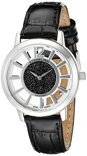 Stuhrling Original Women's 388LS.02 Classic Winchester Edinburgh Swiss Quartz Black Leather Strap Watch