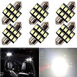 "6-Pack 200 Lumens Xenon White 31MM(1.25"") 12V Festoon Interior Map Trunk Dome Light 3030 6-SMD No Polarity LED Bulbs for Vehicle 3021 3022 3175 6428 6430 DE3175 DE3021 DE3022"