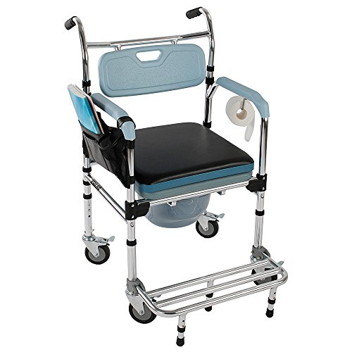 - Luxury 4-in-1 Multifunction Heavy Duty Bath Chair Wheelchair Commode Potty Chair Ordinary Sofa Chair Portable Medical Aid Mobility Elderly Handicapped People Pregnant Women Hospital Medical Chair