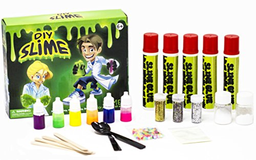 Amplifusion LARGEST DIY Slime Kit - Glow-In-The-Dark, 6 Neon Colors, 3 Glitters, Slime Beads, Slime Crystals Fun & Educational Gift!