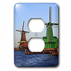 3dRose Danita Delimont - Windmills - Famous windmills of Zaanse Schans, just outside of Amsterdam, Holland - Light Switch Covers - 2 plug outlet cover (lsp_257780_6)