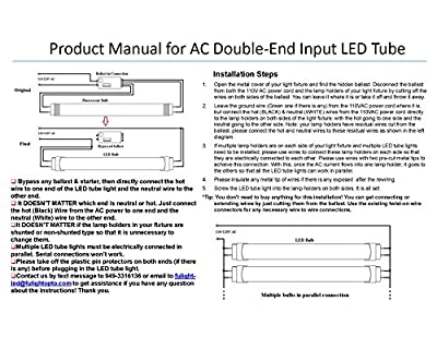 "Fulight® Dimmable ¤ T8 LED Tube Light - T8 4FT 48"" 18W (32W Equivalent), Daylight 4500K, FO32/741/CW, F32T8, F34T12, Double-End Powered, Frosted Cover,110/120VAC - Fluorescent Replacement Bulbs"