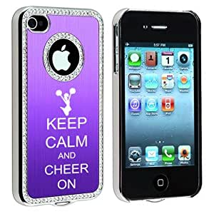Apple iPhone 4 4S 4G Purple S422 Rhinestone Crystal Bling Aluminum Plated Hard Case Cover Keep Calm and Cheer On