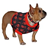 French Bulldog Shorty Sweatshirt Red Skull Heads on Black For Sale