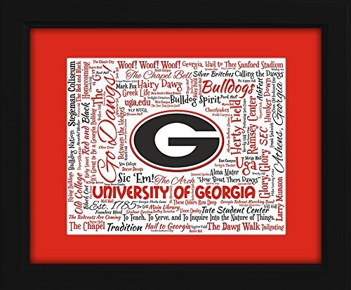 Georgia Glass Art (University of Georgia (UGA) 16x20 Art Piece - Beautifully matted and framed behind glass)