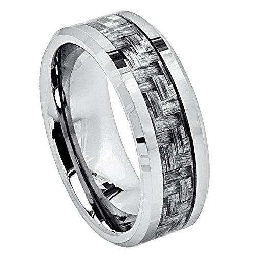 Men's 8mm Tungsten Wedding Band, Grey Carbon Fiber Inlay Beveled Edge, Comfort Fit Tungsten Carbide Anniversary Ring - s15