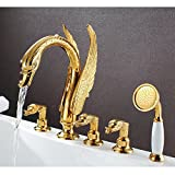 Furesnts Modern home kitchen and bathroom faucet European classical antique Golden animal shape with five piece of cover art Swan bath mixer,(Standard G 1/2 universal hose ports)