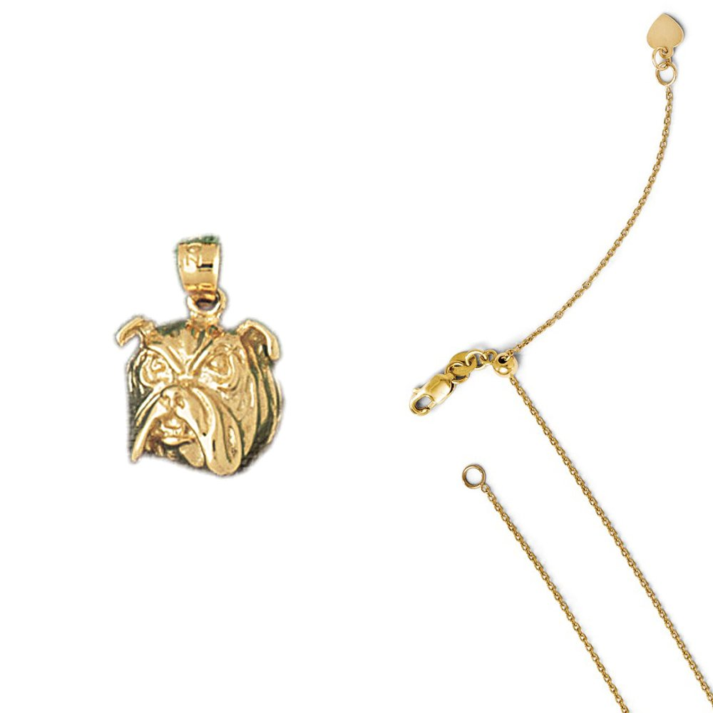 14K Yellow Gold Bulldog Pendant on an Adjustable 14K Yellow Gold Chain Necklace