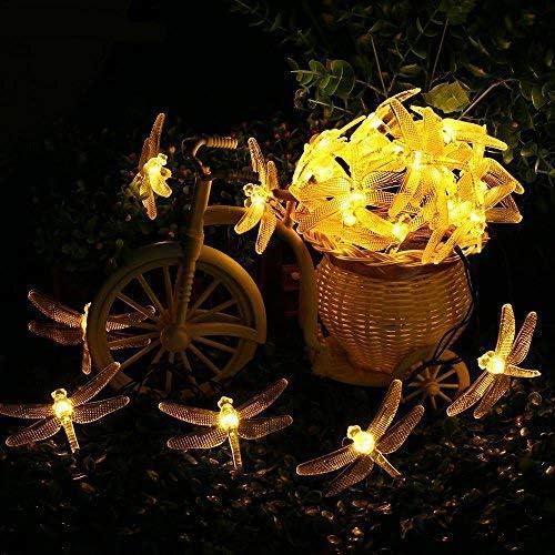 5//10m Solar Power Outdoor Dragonfly LED Fairy LightsGarden Christmas Decor