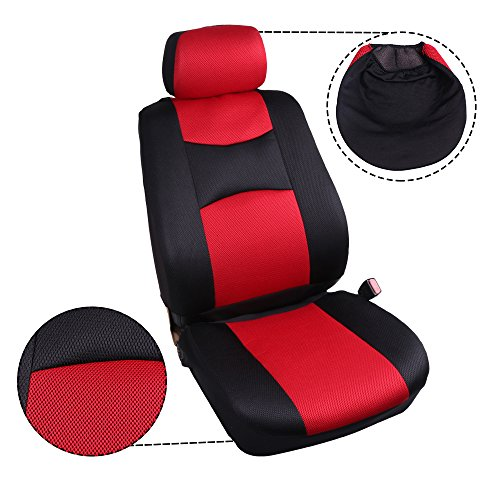 ECCPP Universal Car Seat Cover w/Headrest/Steering Wheel/Shoulder Pads - 100% Breathable Mesh Cloth Stretchy Durable for Most Cars Trucks Vans(Red/Black) by ECCPP (Image #5)
